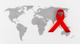 Map of the world with overlay of AIDS ribbon